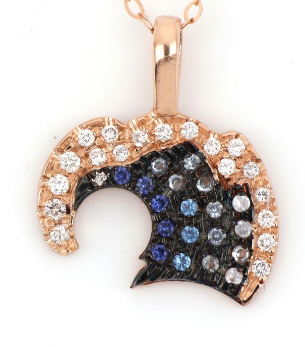 18 kt. Pink gold - Necklace, Necklace with pendant - 0.40 ct Diamond - Sapphires