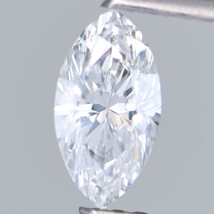1 pcs Diamond - 0.40 ct - Marquise Brilliant - D (colourless) - SI1     GIA Certified