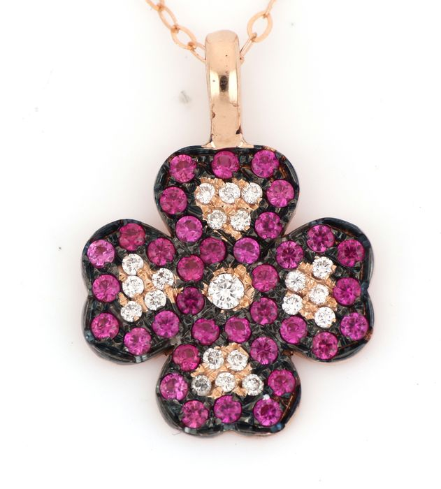 18 kt. Pink gold - Necklace, Necklace with pendant - 0.30 ct Diamond - Rubys
