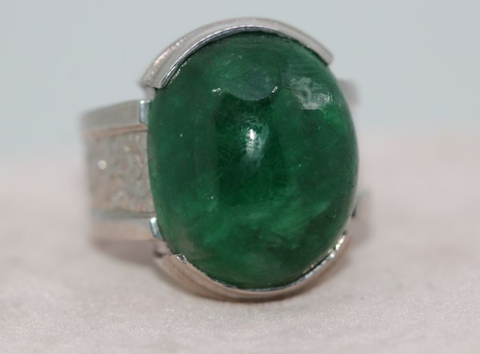 925 Silver - Ring - 35.00 ct Emerald