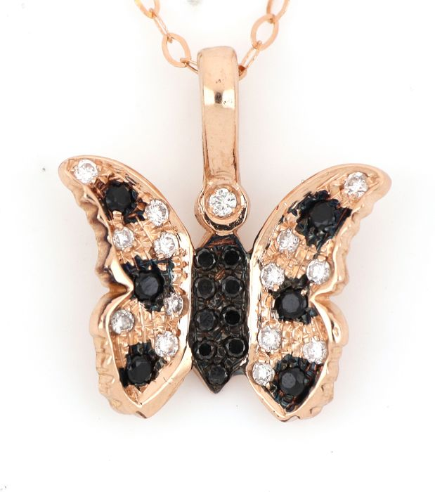 18 kt. Pink gold - Necklace, Necklace with pendant - 0.20 ct Diamond - Diamonds