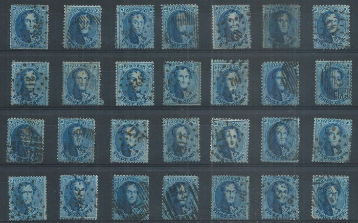 België 1863 - Lot of 420 No.15, 15A and 15B, postmarked, for plates, shades, varieties... - OBP / COB COB N°15, 15A et 15B