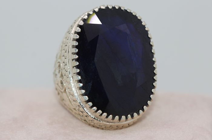 925 Silver - Ring - 73.00 ct Sapphire