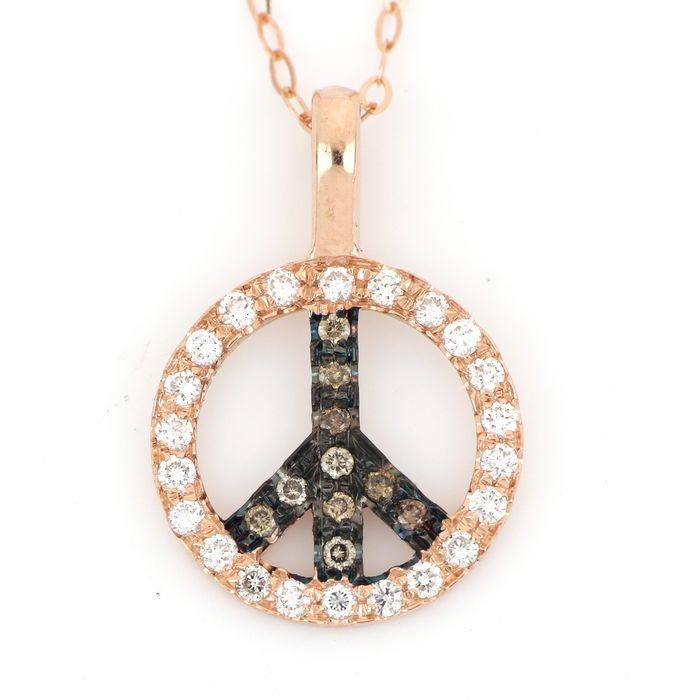 18 kt. Pink gold - Necklace, Necklace with pendant - 0.40 ct Diamond - Diamonds