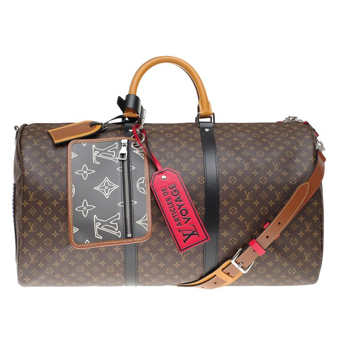 "Louis Vuitton - BRAND NEW/SOLD OUT/Keepall Bandoulière 50 ""Patchwork"" by Virgil Abloh - Reisetasche"