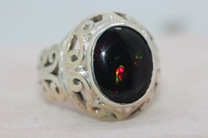 925 Silver - Ring - 9.00 ct Opal