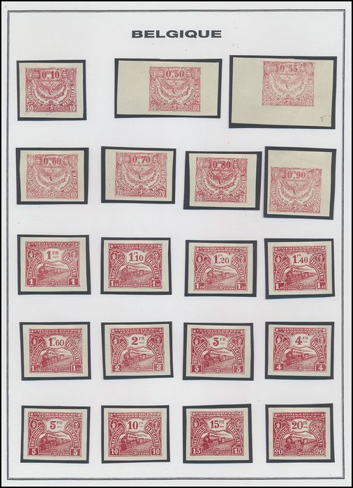 Belgium 1920 - Railway stamps 'Issue of Mechelen' - lot of perforated and imperforate colour prints - OBP / COB TR 100/127
