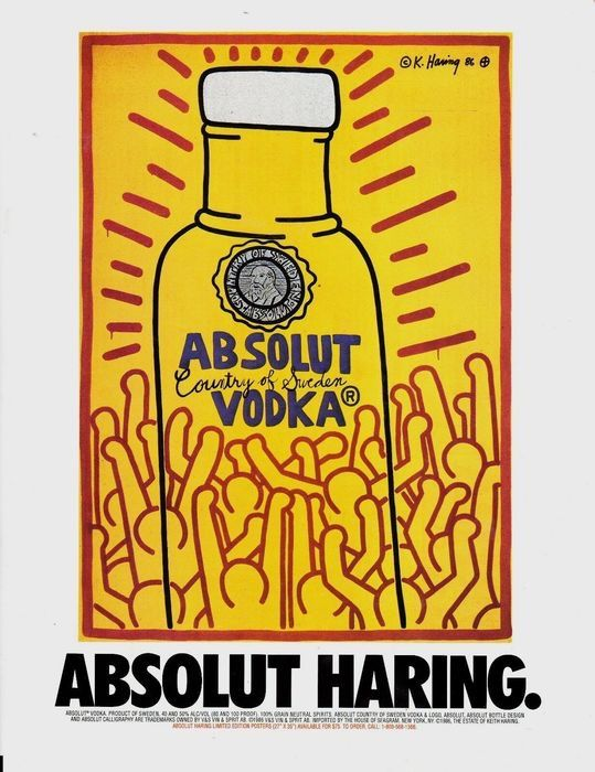 Keith Haring (after)   - Absolut Vodka - 1986