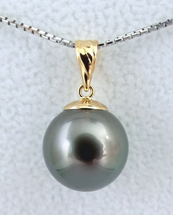 No Reserve Price - Tahitian pearl, Midnight Subtle Peacock Round 11.64 mm - Pendant, 18 kt. Yellow Gold