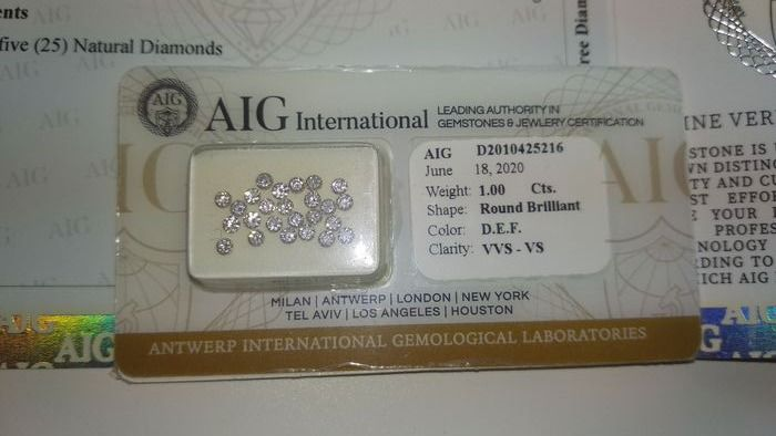 25 pcs Diamanten - 1.00 ct - Brillant, Kalibrierte Brillanten - D (farblos), E, F - VS1, VS2, VVS1, VVS2