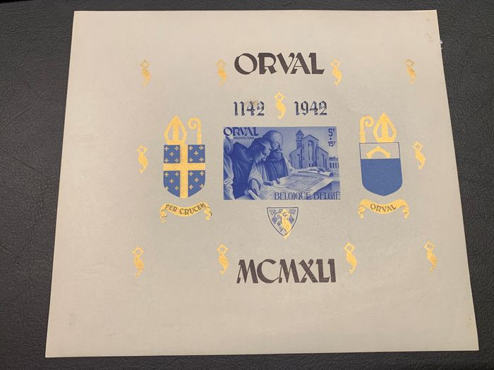 Belgium 1941 - Large format Orval block, imperforate - Curiosity: Number on the rear - OBP / COB BL12 - Cu