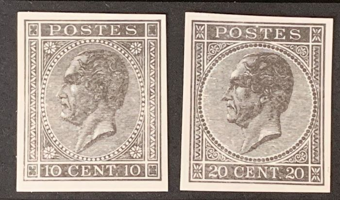 Belgium 1865/1866 - Leopold I in profile imperforate proofs in black and white: 10c + 20c - Stes