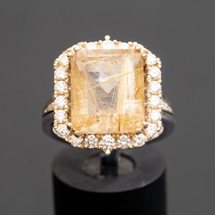 Rutilated Diamond Ring - 14 kt Gelbgold, Weißgold - Ring - 10.20 ct - 1,01 ct Diamanten D-F / VS