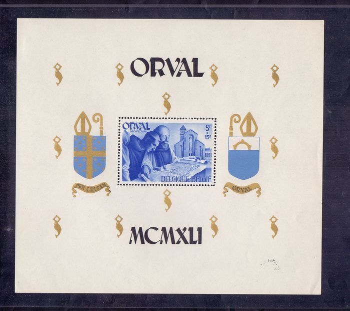 Belgium 1941 - Large format Orval block, perforated instead of imperforate - Inspected multiple times - OBP / COB BL12 - Cu