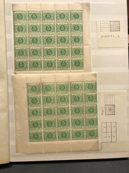 Belgium 1895 - Postage due stamps - First sets in sheet parts with plating and varieties TX3-...