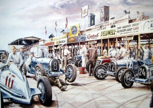 """Cartel/impresión - By Vaclav Zapadlik - """"Chiron's best win"""" Features the great driver Louis Chiron (1899-1979) in the pits of a vintage race"""