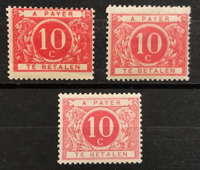 Belgium 1895 - Postage due stamp TX5 in 3 nuances including Salmon pink TX5, 5a, 5b
