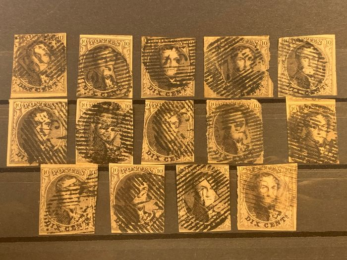 Belgium 1849 - Imperforate medallions OBP 3 - Lot with paper types, nuances and cancellations - OBP / COB 3/3A