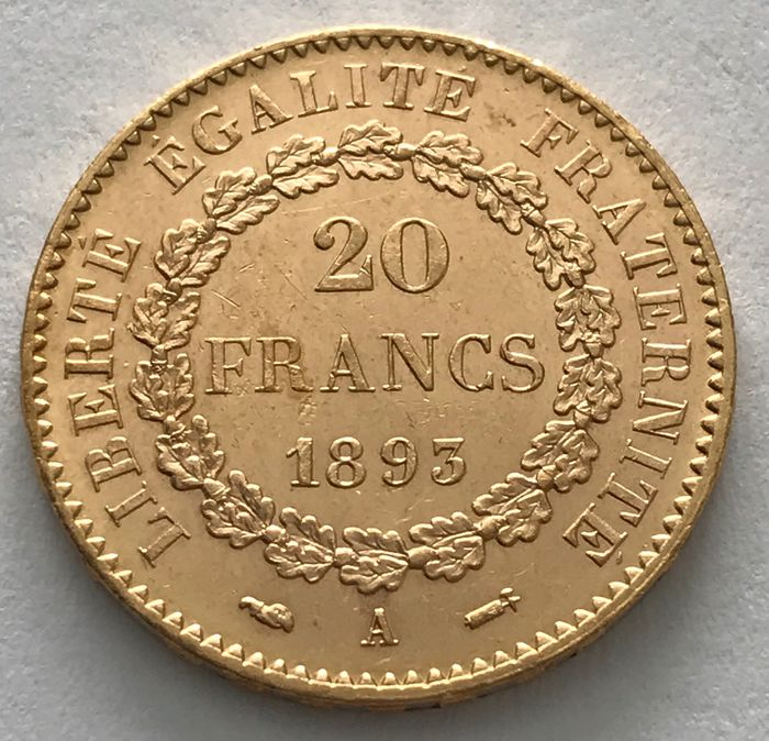 20 Francs 1893 A - Genius - Dritte Republik - Or