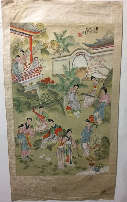Original Chinese Scroll painting on linen - Linen - China - Republic period (1912-1949)