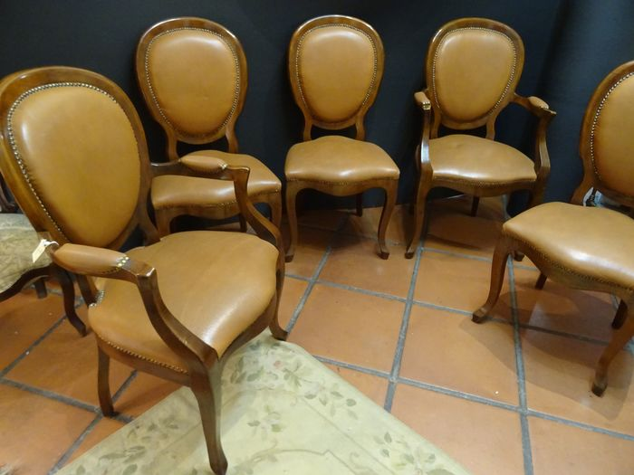 Chair, Set of three chairs and a pair of armchairs