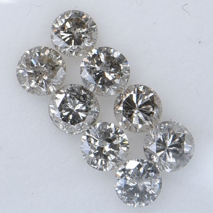 8 pcs Diamant - 0.88 ct - Rond brillant - Multiple Colors - SI3-I1     GWLAB certified    ** No Reserve Price **
