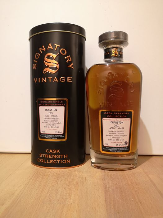 Deanston 2007 13 years old Cask Strength 1st Fill Sherry Butt Cask 900147 - Signatory Vintage - b. 2020 - 70cl