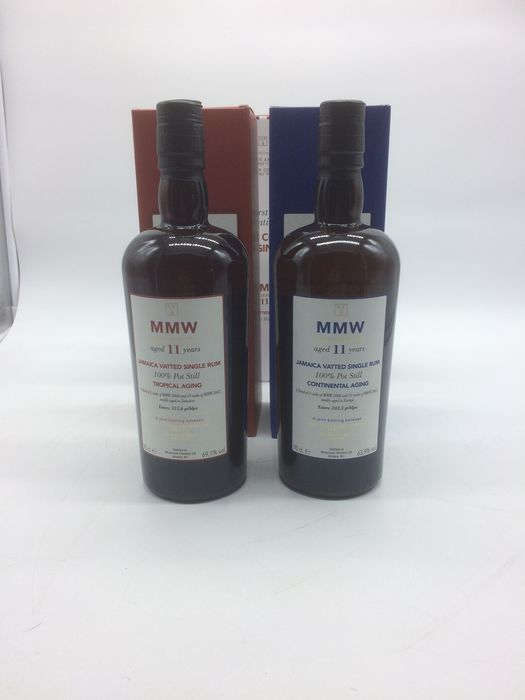Monymusk 11 years old Velier - MMW Jamaica Continental and Tropical - 70cl - 2 bottles