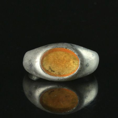 Ancient Roman Silver Ring with glass cameo - (1)