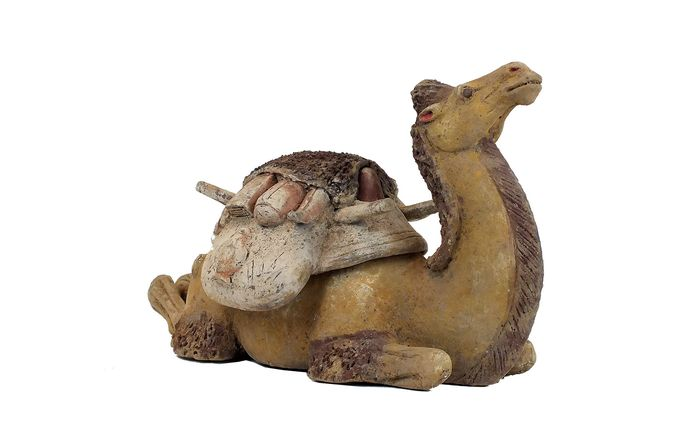Mingqi - Terracotta - An Exceptional Painted Gary Pottery Figure of a Reclining Bactrian Camel, TL test - China - Tang Dynasty (618-907)