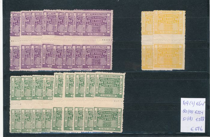 Frankrijk 1943 - 24 stockcards with railway stamps in quantities - Maury 49-51 and others