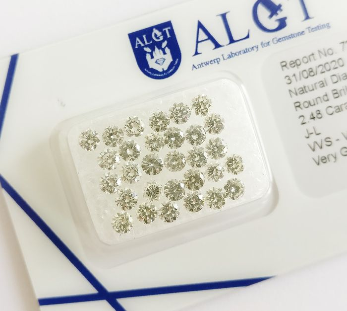 30 pcs Diamonds - 2.48 ct - Okrągły genialny - J-L - VVS-VS