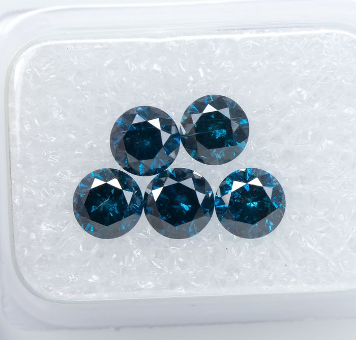 5 pcs Diamants - 1.65 ct - Bleu profond de fantaisie - SI-I1  *NO RESERVE*