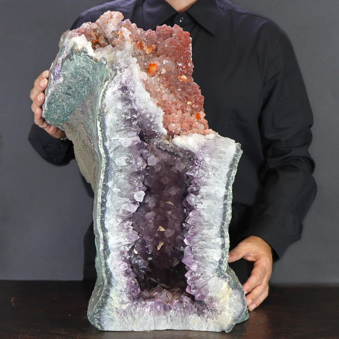 Top Quality Big Amethyst Cathedral with  Orange Calcite - Geode - 540250×250×230 mm - 46500 g