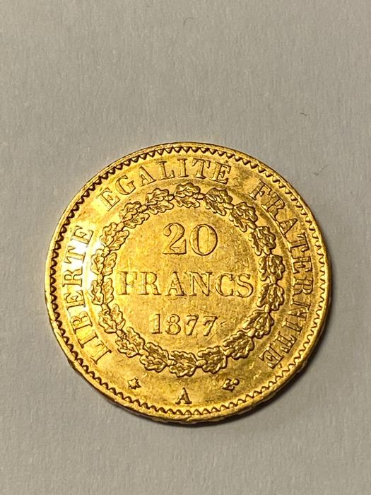 France - 20 Francs 1877-A Genius - Or