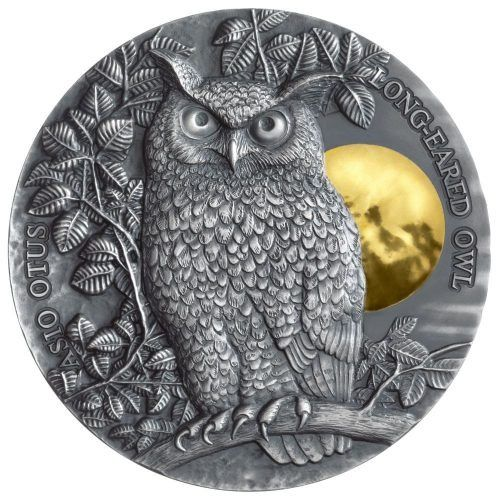 Niue. 5 Dollars 2019 Long Eared Owl Asio Otus - 2 oz