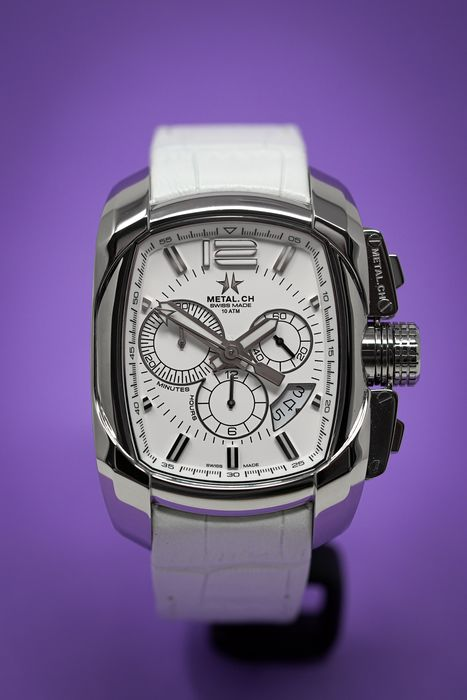 Metal.ch - Chronograph Club Steel with White Leather Strap Swiss Made - 5110.44 - Men - Brand New