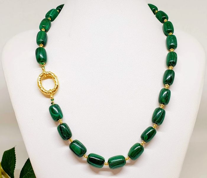 Collier malachite Poli - 1.5×0.9×48 cm - 87 g - (1)