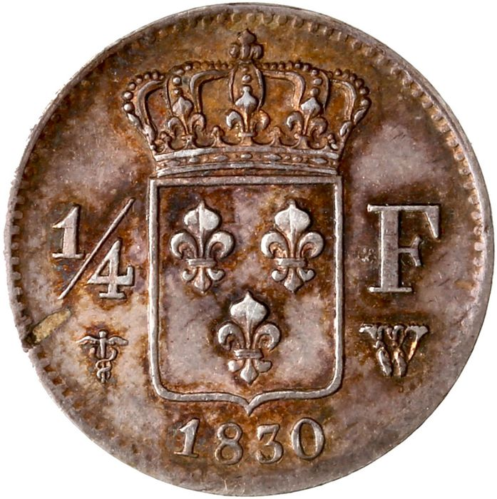 France. Charles X (1824-1830). 1/4 Franc 1830-W, Lille