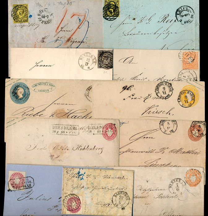 Saksen - Lot with 11 documents and postal stationery items