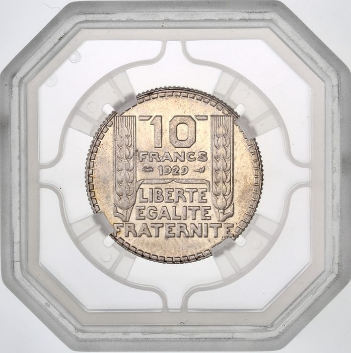 France - 10 Francs 1929 Turin - GENI MS64 - Silver