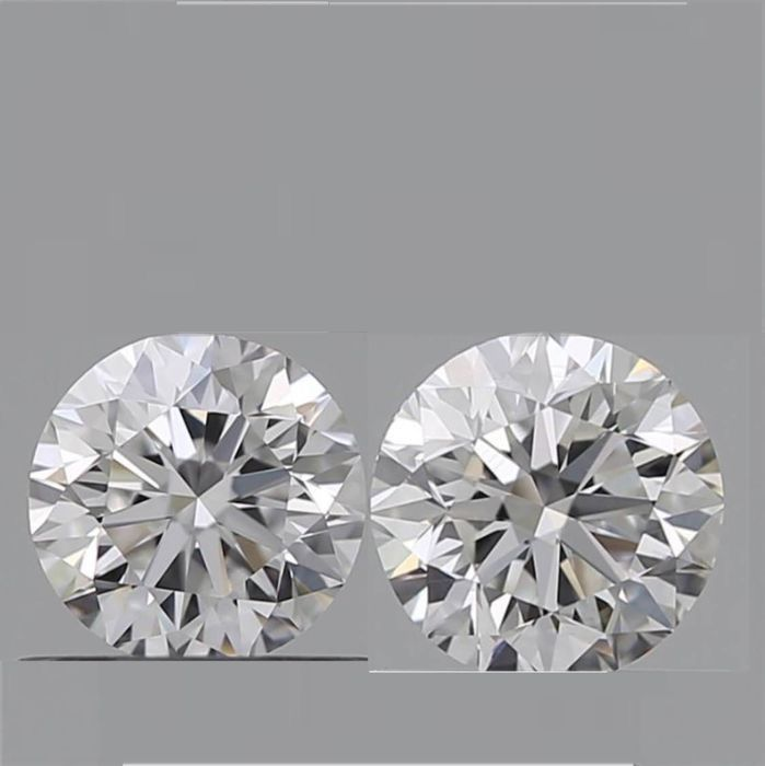 2 pcs Diamanti - 0.60 ct - Brillante - F - VVS2
