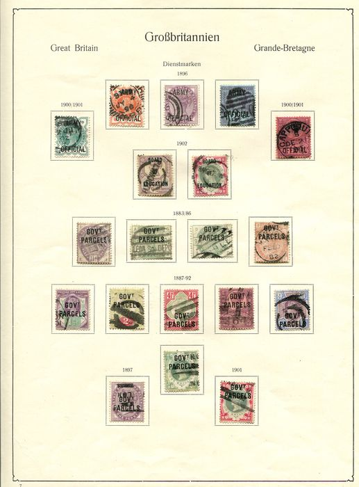Großbritannien 1896/1904 - Collection of official stamps on old album pages - Stanley Gibbons Between SGO41 and SGO106