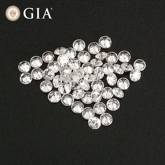 49 pcs Diamonds - 1.01 ct - Round - D (colourless), E, F - VS1, VS2, VVS1, VVS2, ***No Reserve Price***