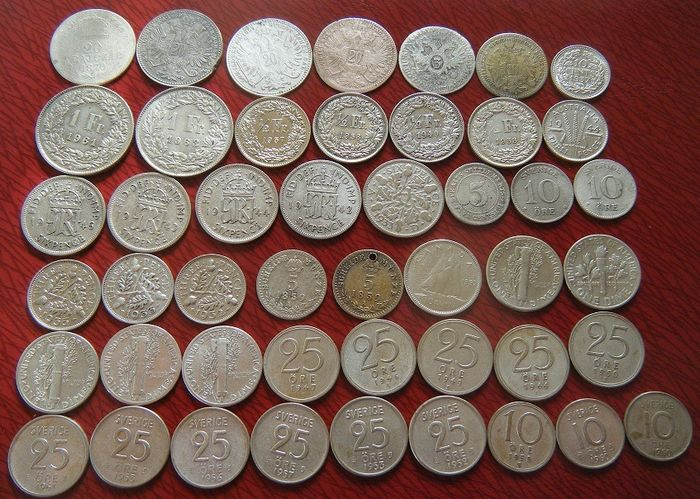 World - Lot various coins (47 pieces) from 9 countries - Silver