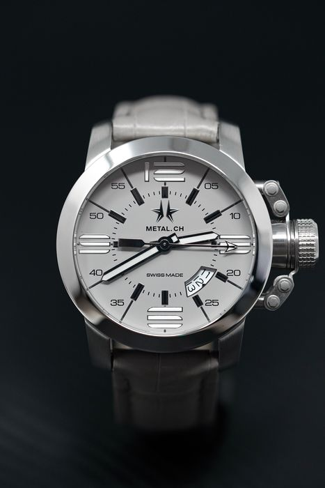 """Metal.ch - 44MM Initial Grey - 1132.44 """"NO RESERVE PRICE"""" - Men - Brand New"""