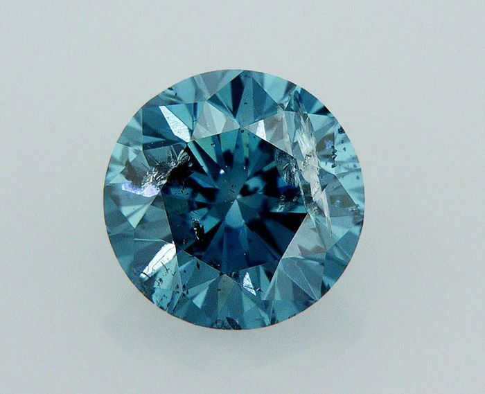 1 pcs Diamant - 1.00 ct - Rund - Fancy Intens blau - SI3