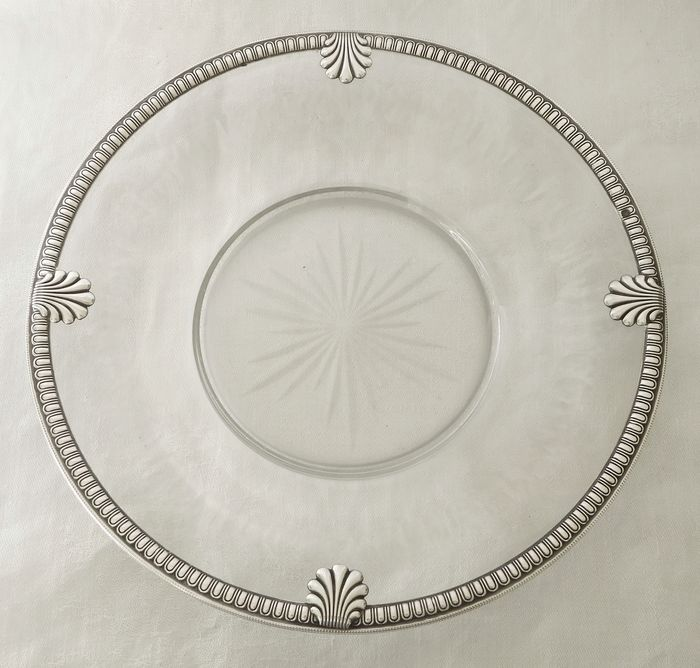 Baccarat - solid silver mounted candy plate - circa 1900 - Louis XVI - Crystal, Silver, .950