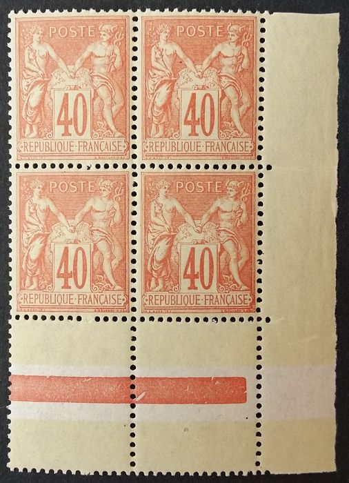 Frankreich 1881/1881 - Sage, type II, N under U, 40 centimes orange, block of 4. - Yvert 94