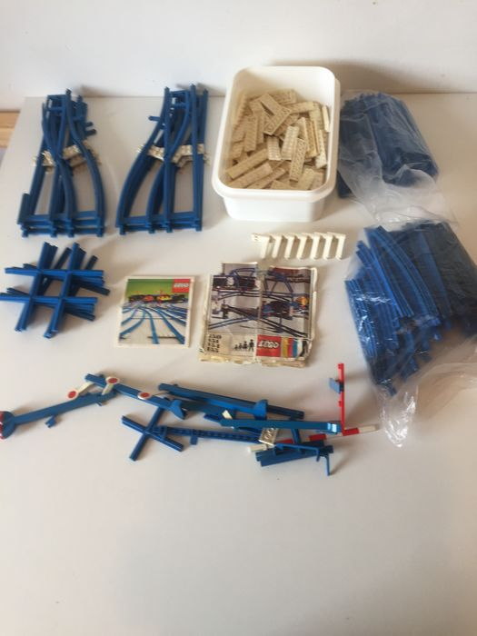 LEGO - Vintage - 125 - 150 - 151 - 154 - 155 - 156 - 159 - 741 - + - trein rails, wagon, 12v transformer With Instructions and Box - 1970-1979